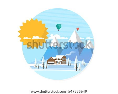 Abstract Flat Style Winter Landscape Background. Flat Vector Illustration