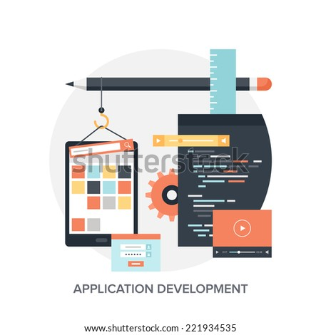 Abstract flat vector illustration of application development concepts. Design elements for mobile and web applications. - stock vector