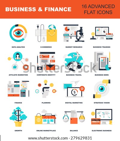 Abstract flat vector illustration of business and finance concepts. Elements for mobile and web applications. - stock vector