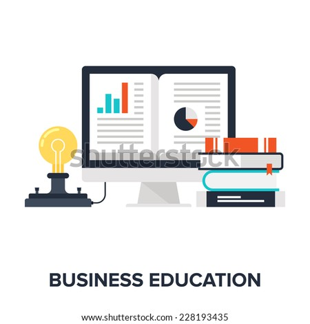 Abstract flat vector illustration of business education concept. Elements for mobile and web applications. - stock vector