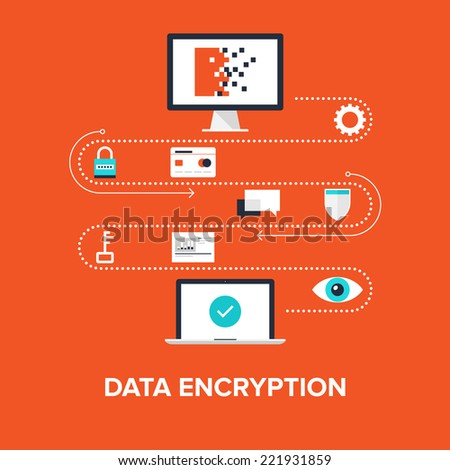 Abstract flat vector illustration of data encryption concept isolated on red background. Design elements for web. - stock vector