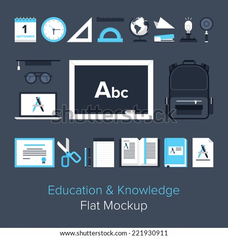 Abstract flat vector illustration of education and knowledge concept. Elements for mobile and web applications. - stock vector