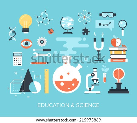 Abstract flat vector illustration of science and technology concepts. Design elements for mobile and web applications. - stock vector