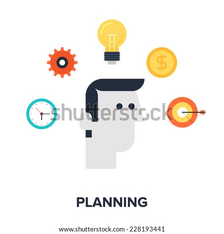 Abstract flat vector illustration of strategic planning concept. Elements for mobile and web applications. - stock vector