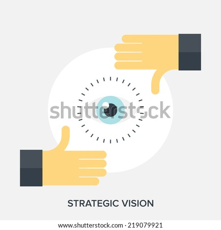Abstract flat vector illustration of strategic vision concepts. - stock vector