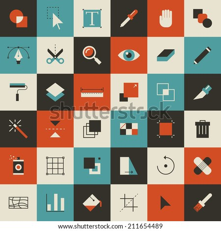 Abstract flat vector illustration of tools for design application. - stock vector