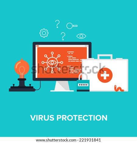 Abstract flat vector illustration of virus protection concept isolated on blue background. Design elements for web. - stock vector