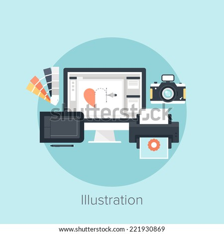 Abstract flat vector image of illustration drawing process. - stock vector
