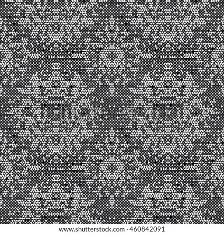 Abstract flecked glitch geometric ornament. Seamless pattern.