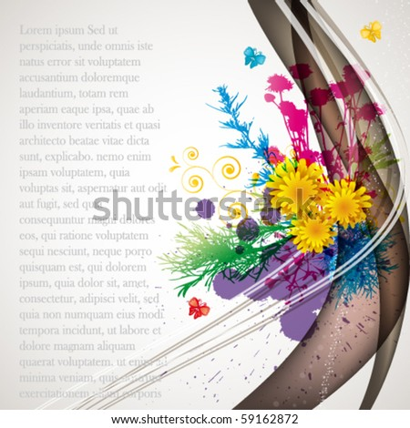 abstract flora background 1 - stock vector