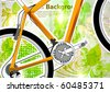 abstract flora background with orange detailed bicycle - stock vector