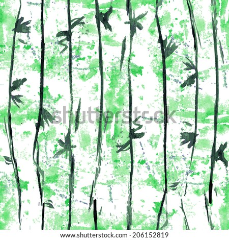 Abstract flora seamless patternl background in Japanese style. Bamboo grove. Watercolor painting. Vector 100% - stock vector