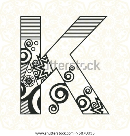 abstract floral ABC, ornamental letter K - stock vector