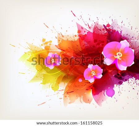 Abstract floral artistic element . Watercolor vector background with colorful flower and blots.