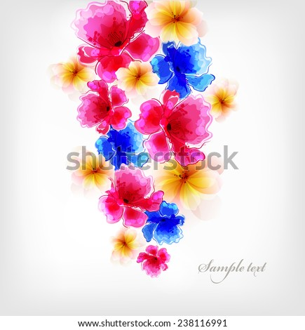 Abstract floral artistic element . Watercolor vector background with colorful flower and blots. - stock vector