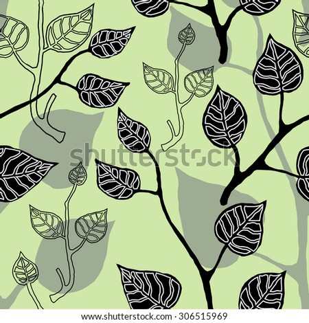 Abstract floral background. Leaves seamless pattern. Black, grey, white, green. Backgrounds & textures shop. - stock vector