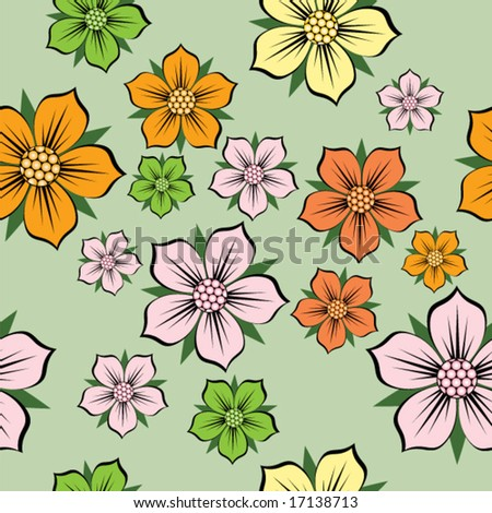 Abstract floral background. Seamless pattern. Vector.