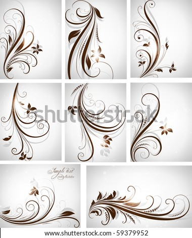 abstract floral background vector illustration set - stock vector