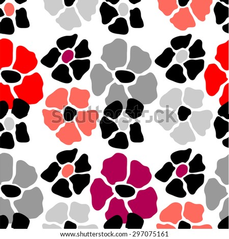 Abstract floral background. Vector seamless pattern. Black, grey and red. Backgrounds & textures shop. - stock vector