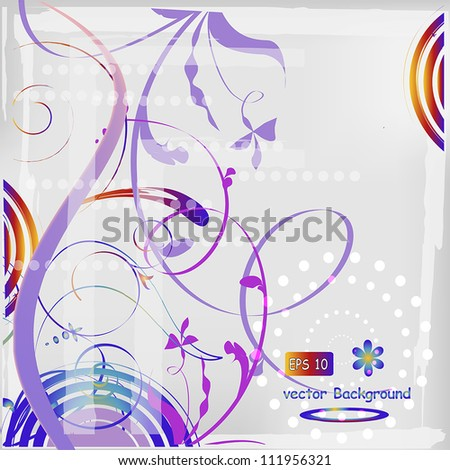 abstract floral background with curls, vector