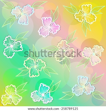 Abstract floral background with 3d paper flowers and leaves. This vintage romantic image can be used as a background for a greeting card, valentine or the wedding invitation. Eps10 - stock vector