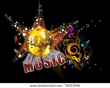 abstract floral background with disco ball, colorful musical notes - stock vector