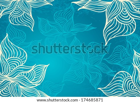 Abstract floral Background with flowers   grunge in in marine color hand draw