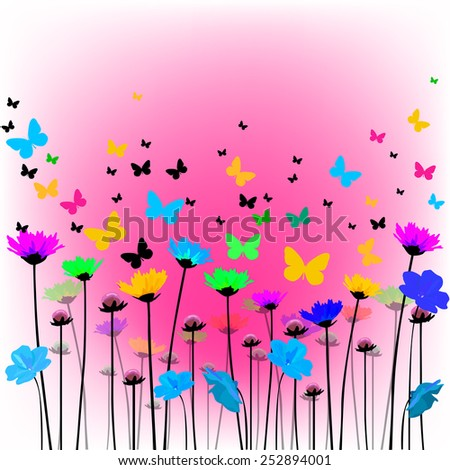 Abstract floral background with hearts and butterflies. Vector  - stock vector