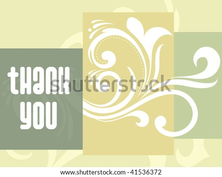 abstract floral background with thank you text - stock vector