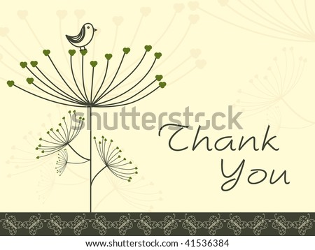 abstract floral background with thank you text and bird - stock vector