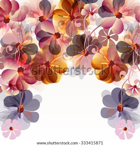Abstract floral background with  transparent flowers and space for text - stock vector