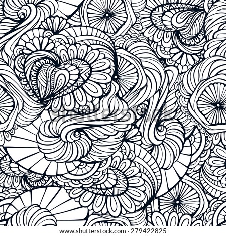 Abstract floral black and white ethnic seamless pattern - stock vector