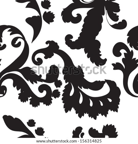 abstract floral black and white seamless background - stock vector