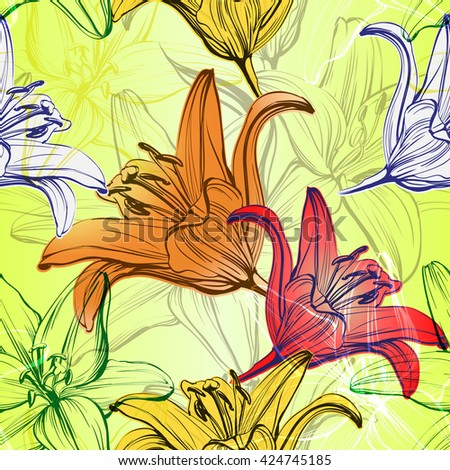 abstract floral blooming lilies background  texture hand drawn vector illustration  sketch - stock vector