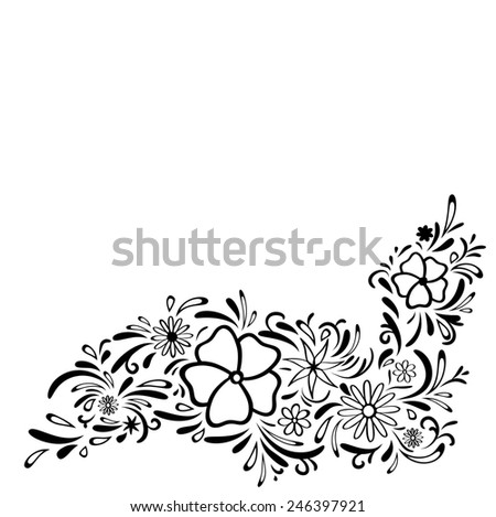 Abstract Floral Border, Copyspace For Your Text - stock vector