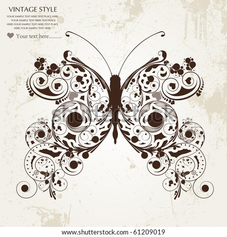 abstract floral butterfly - stock vector