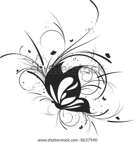 Abstract floral butterfly. Vector illustration - stock vector