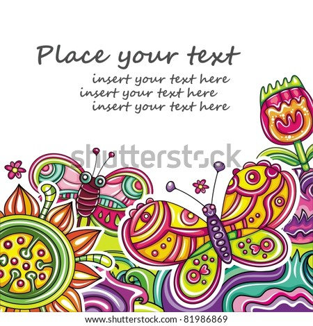 Abstract floral card(series) 18 - stock vector