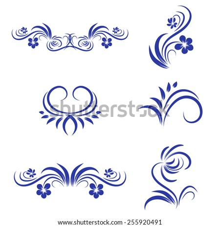 Abstract Floral Decorative Element Collection Over White - stock vector