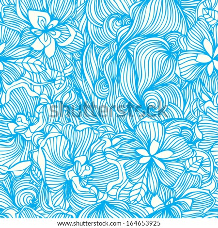 Abstract floral doodle  hand drawn stylish vector pattern background design - stock vector