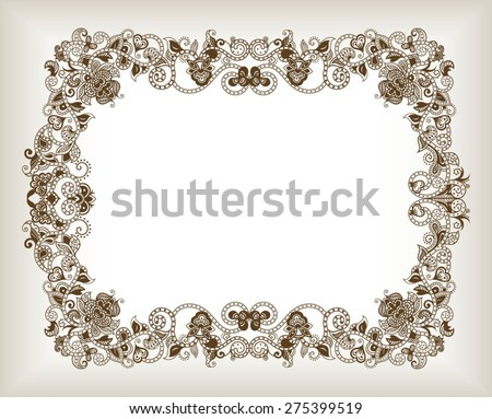 Abstract Floral Frame Background - stock vector