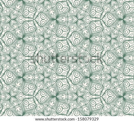 abstract floral green seamless pattern on a beige background. vector illustration  - stock vector