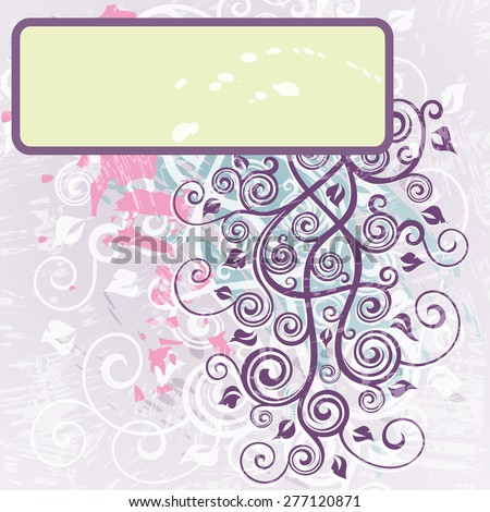 Abstract floral grunge retro background - stock vector