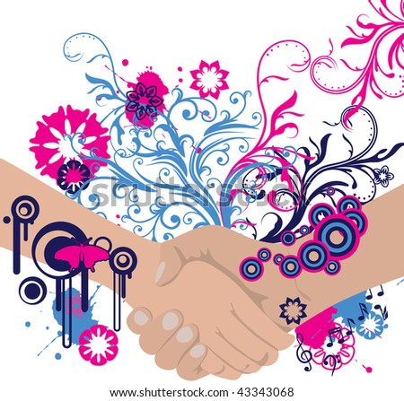 abstract floral handshake with place for your text - stock vector