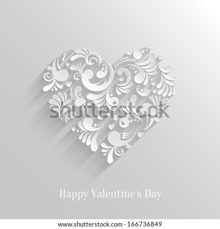 Abstract Floral Heart Background. Valentine`s Day Card. Trendy Design Template - stock vector