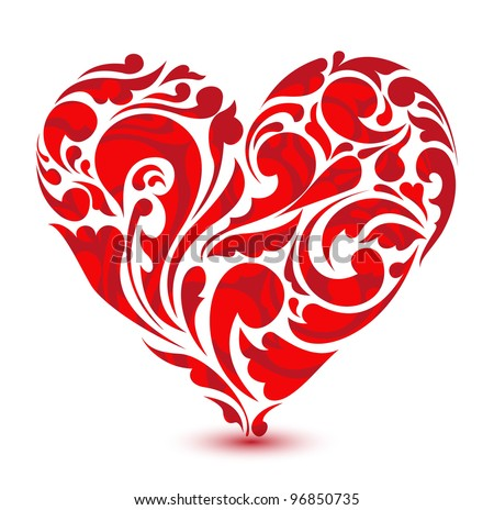 abstract floral heart. love concept - stock vector