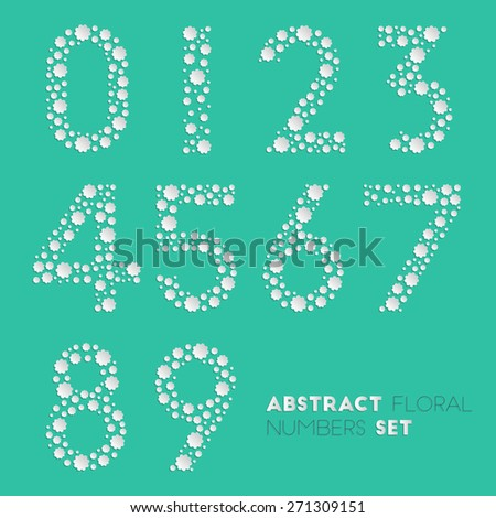 Abstract floral numerals. Vector numbers set made of flowers for your design