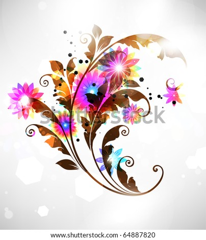 Abstract floral ornament for design. With colorful flowers and leafs