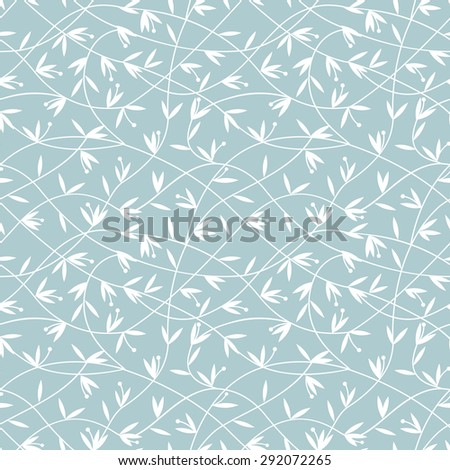 Abstract floral ornament. Seamless vector background. White and blue pattern. - stock vector