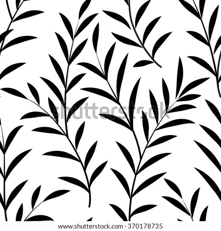 Abstract floral pattern Floral leaves silhouette black and white texture. Stylish abstract vector plant ornamental background - stock vector